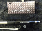 Images of a new full size Diamond SX violin bow by American company CodaBow. Images show the stick is made of braided carbon fiber and has an ebony frog.