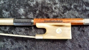German 4/4 2012 K Müller Horn Frog Silver Mounted Violin Bow
